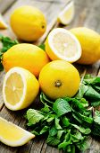 stock photo of mints  - lemons and mint on a dark wood background - JPG