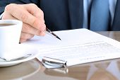 image of contract  - Businessman is signing a contract business contract details - JPG