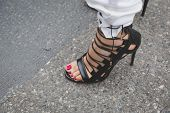 Detail Of Shoes Outside Armani Fashion Show Building For Milan Women's Fashion Week 2015
