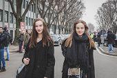 Beautiful Models Outside Armani Fashion Show Building For Milan Women's Fashion Week 2015