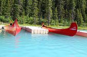 Canoes on beautiful turquoise lake