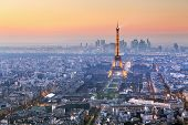Paris City With Eiffel Tower At Dusk, Cityspace