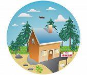 Nice house, yard, tree, grass, vector, illustration
