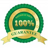 100%, Satisfaction, Guarantee, badge, green, vector, illustration
