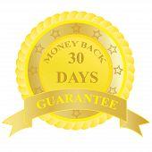 Money, back, guarantee, badge, label, sign, vector, illustration,yellow