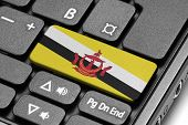 Go To Brunei! Computer Keyboard With Flag Key.