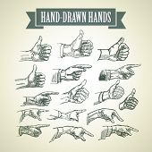 Set of vintage hand-painted hands. Vector illustration