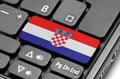 Go To Croatia! Computer Keyboard With Flag Key.