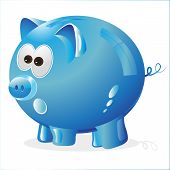 blue piggy bank for savings