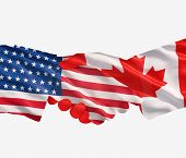 Usa And Canada Shake Hands