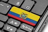 Go To Ecuador! Computer Keyboard With Flag Key.