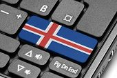Go To Iceland! Computer Keyboard With Flag Key.