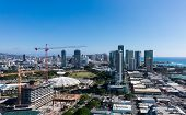 pic of waikiki  - View over Waikiki showing new condos under construction as the city of Honolulu expands on Oahu Hawaii - JPG