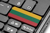 Go To Lithuania! Computer Keyboard With Flag Key.