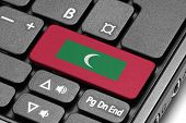 Go To Maldives! Computer Keyboard With Flag Key.