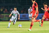 Sisaket Thailand-february 18: Chanathip Songkrasin Of Bec Tero (white) In Action During Thai Premier