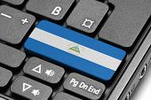 Go To Nicaragua! Computer Keyboard With Flag Key.