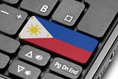 Go To Philippines! Computer Keyboard With Flag Key.