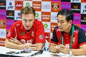 Sisaket Thailand-february 18: Robert Procureur (l) General Manager And Thanya Wongnak (r) Team Manag