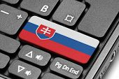 Go To Slovakia! Computer Keyboard With Flag Key.