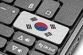 Go To South Korea! Computer Keyboard With Flag Key.