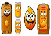 Cartoon funny fresh mango juice characters