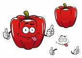 Cartoon funny red bell pepper vegetable character