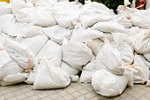 picture of sandbag  - sandbags for flood defense or military use - JPG