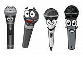 Cartoon happy wireless microphones characters
