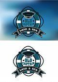 Captain emblem with cap and lifebuoy