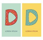 Letter D With Geometric Pattern. Can Be Used As Logo, Icon, Template And Others