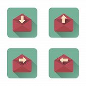 Mail Flat Icons Set With Long Shadow
