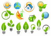 Abstract eco or green energy icons