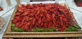 pic of cooked blue crab  - Red cooked crayfish as a snack on a golden tray - JPG