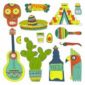 stock photo of guitar  - Hand drawn set of mexican symbols  - JPG