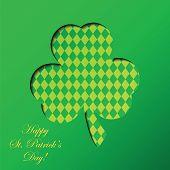 Happy St. Patrick's Day celebration with  clover  leaf.