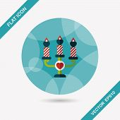 Valentine's Day Candle Flat Icon With Long Shadow,eps10