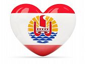 Heart Shaped Icon With Flag Of French Polynesia