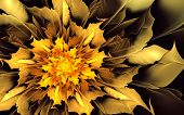 foto of fiery  - Abstract fractal background with fiery yellow - JPG