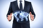 Businessman Holding World Map