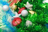 Christmas Ornaments, Stars, Cones, Balls, Tinsel.