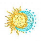 Sun, Month Stars Vector Vintage Style Folklore Retro