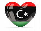 stock photo of libya  - Heart shaped icon with flag of libya isolated on white - JPG