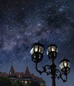 picture of starry night  - A picture of night street with beautiful starry sky above