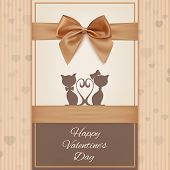 Valentines Day greeting card template with two cats, bow and ribbon.
