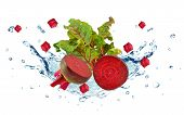 picture of beet  - red beet with water splash isolated on white - JPG