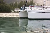 Recreational Yacht In Sunlight Haze