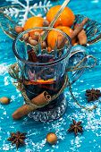 drink mulled wine on bright blue background.