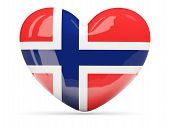 Heart Shaped Icon With Flag Of Norway