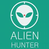 Vector alien hunter on green background